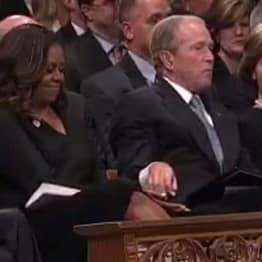 George W. Bush Sneaks Candy To Michelle Obama During John McCain's Funeral