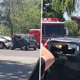 Driver Smashes Into Car And Stamps On Roof In Huge Road Rage Row