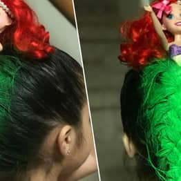 Mum Turns Daughter's Hair Into Mermaid For 'Crazy Hair Day' At School