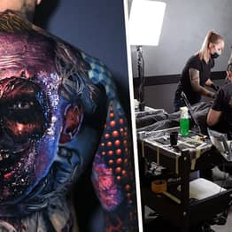 Guy's Creepy Full Back Clown Tattoo 'Comes To Life' When He Moves