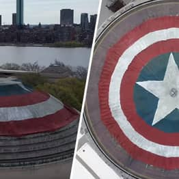 Marvel Fans Turn College Dome Into Captain America's Shield