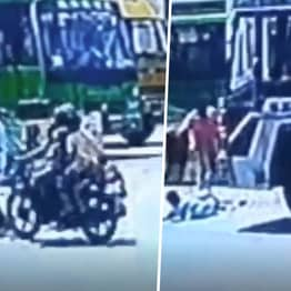 Boy Dodges Motorbike Only To Be Run Over By Lorry