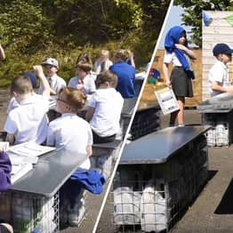 School Kids Build Entirely Recycled Classroom From 3000 Bottles