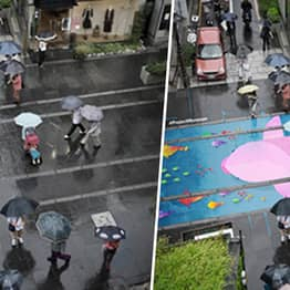 Water Activated Street Murals Come To Life When It Rains