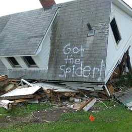 Pranksters Spray Paint 'Got The Spider!' On The Roof Of Their Demolished Home