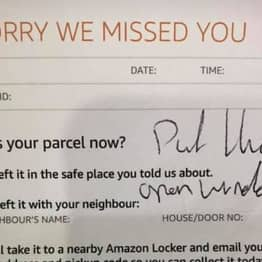 Woman Finds Amazon Delivery 'Thrown Through Upstairs Window'
