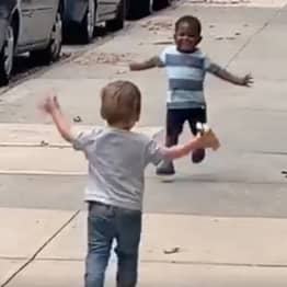 Two-Year-Old Best Friends Race To Hug Each Other After Two Days Apart