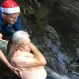 87-Year-Old Daredevil Slides Down 25-Foot Waterfall Setting Record