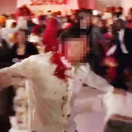 Man Left Covered In Blood After Mass Brawl At Wedding
