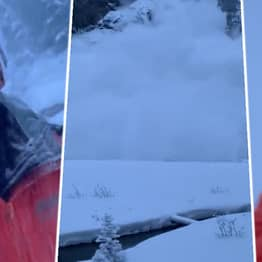 Incredible Heart-Thumping Footage Shows Man Outrunning An Avalanche
