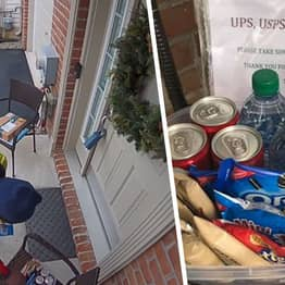 Delivery Guy Has 'World's Purest Reaction' To Finding Snacks Outside A Home