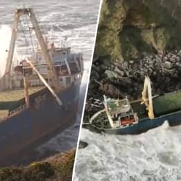 Long Lost 'Ghost Ship' Washes Up On Coast Of Ireland After Storm Dennis