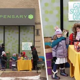 Girl Scouts Set Up Cookie Stand Outside Weed Dispensary