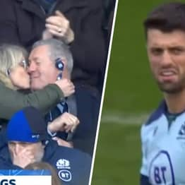 Scotland Rugby Player Adam Hastings Reacts To Parents Kissing On Camera To Celebrate His Conversion