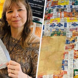 Woman Uses Crisp Packets To Help The Homeless Stay Warm And Dry