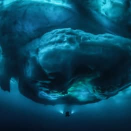 Once In A Lifetime Picture From Underneath An Iceberg Looks Other-Worldly