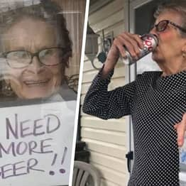Woman, 93, Who Used Sign To Ask For More Beer Gets Huge Delivery Of Beer
