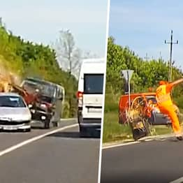 Road Worker Has Lucky Escape As Industrial Saw Flies Inches From Head