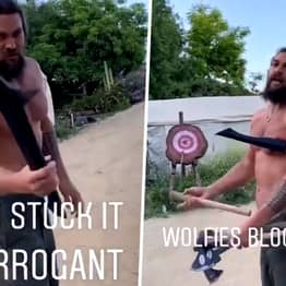 Jason Momoa Just Taught His Son To Throw Tomahawk Axes On Target Without Looking