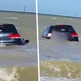 Man Desperately Tries To Save His Car As It's Swept Out To Sea At Kent Beach