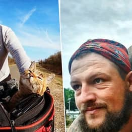 Cyclist Finds Stray Cat At Side Of Road And Takes Her On Trip Around The World
