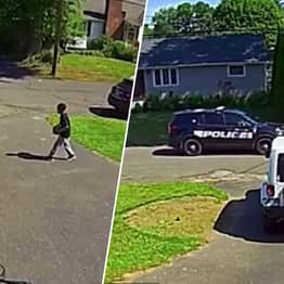 Heartbreaking Moment Black Boy, 10, Hides From Passing Police Car In Connecticut