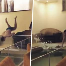 Russian Guy Smashes Through Glass Swimming Pool Panel As Birthday Stunt Goes Wrong