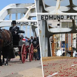 Moving Photos Show US Civil Rights Icon John Lewis Carried Over Selma Bridge For Last Time