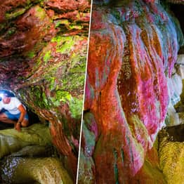 Stunning Photos Show Inside Of Rainbow-Coloured 'Forgotten' Sea Cave In Cornwall