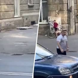 Guy Knocks Out Naked Man Who's Holding Up Traffic In Russia With Single Punch