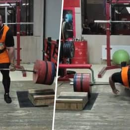 Russian Strongman Ivan Makarov Training To Beat The Mountain Loses Control During 550kg Block Deadlift