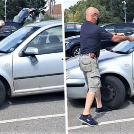 Guy Saves Dog Locked In Car During Heatwave By Smashing Window With Axe