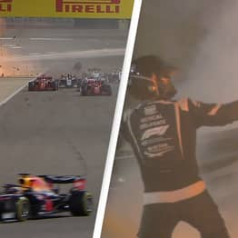 F1 Driver Romain Grosjean Survives Horrifying Crash As Car Explodes And Smashes In Half