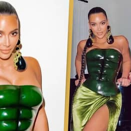 People Are Comparing Kim Kardashian's Christmas Outfit To The Hulk