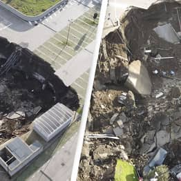 Huge Sinkhole Consumes Cars Outside Hospital In Naples