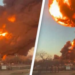 Train Collides With 18-Wheeler Causing Massive Explosion In Texas