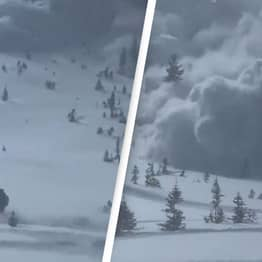 Terrifying Footage Shows Snowmobile Driver Trying To Outrun Avalanche