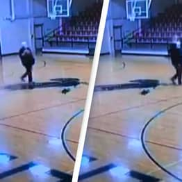 CCTV Catches Janitor Making Incredible Trick Shot While Cleaning