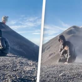 Man Captures Unbelievable Moment Guatemalan Volcano Erupts Behind Him While He's Meditating