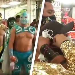 Lucha Libre Wrestlers Enforce Mask-Wearing At Mexican Market