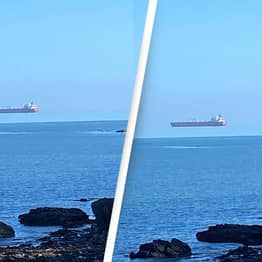 Man In Cornwall Baffled After Spotting Ship Floating Above The Horizon