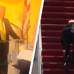 Trump Mocks Biden For Falling Up Stairs While Repeating Election Fraud Claims