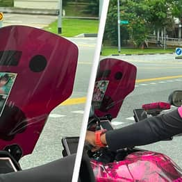 Delivery Driver Puts Photos Of Children On Motorbike To Remind Him Who He's Doing It For