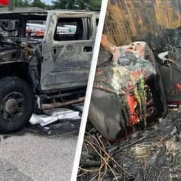 Hummer Destroyed In Blaze After Driver Fills Up Multiple Gas Cans Amid Shortage