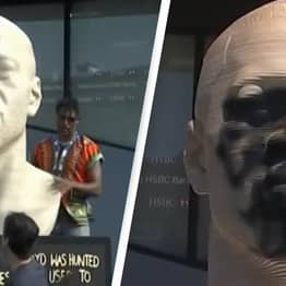 George Floyd Statue Defaced With White Nationalist Graffiti Just Days After It's Unveiled