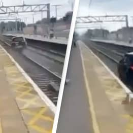 Dramatic 'Real Life Grand Theft Auto' Footage Shows Car Hitting Police, Fleeing On Train Tracks