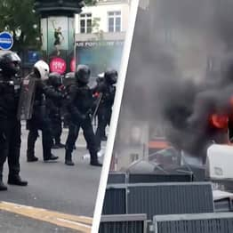 Chaos Erupts In France And Vehicles Set Ablaze Amid Violent Protests Against Covid Laws
