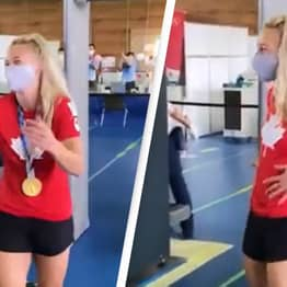 Olympic Gold Medal Winner Has The Best Flex For Airport Security