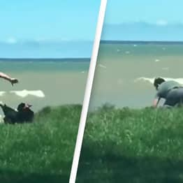 Video Shows Heroic Dad Saving His Dog From Falling Off A Cliff