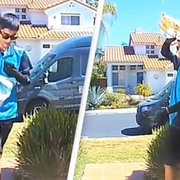 Hilarious Moment Amazon Driver's Failed Delivery Is Caught On Doorbell Camera